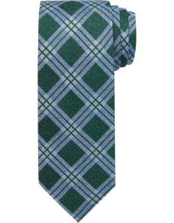JoS. A. Bank Men's Reserve Collection Windowpane Plaid Tie, Green, One