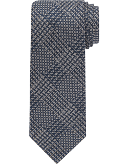 JoS. A. Bank Men's Reserve Collection Houndstooth Plaid Tie, Silver, One