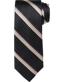 JoS. A. Bank Men's Reserve Collection Herringbone and Stripe Tie - Long, Black, LONG