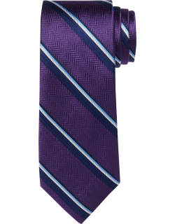 JoS. A. Bank Men's Reserve Collection Herringbone and Stripe Tie - Long, Purple, LONG