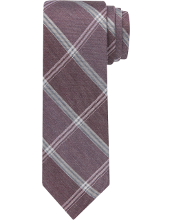 JoS. A. Bank Men's 1905 Collection Plaid Tie, Burgundy, One