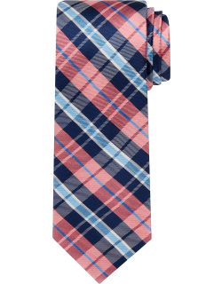 JoS. A. Bank Men's Traveler Collection Plaid Tie, Coral, One