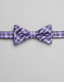 JoS. A. Bank Men's 1905 Collection Plaid Pre-Tied Bow Tie, Purple, One