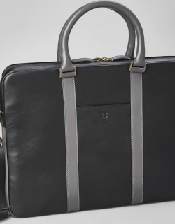 JoS. A. Bank Men's Leather Soft Sided Briefcase Clearance, Black, One