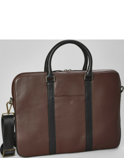 JoS. A. Bank Men's Leather Soft Sided Briefcase Clearance, Brown, One