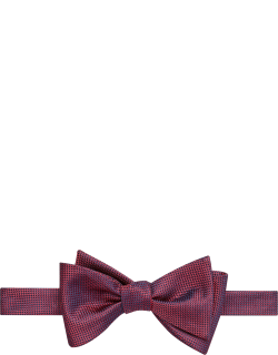 JoS. A. Bank Men's Woven Texture Self Tie Bow Tie, Red, One