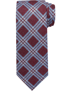 JoS. A. Bank Men's Reserve Collection Windowpane Plaid Tie, Red, One