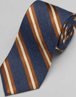 JoS. A. Bank Men's Reserve Collection Ribbed Stripe Tie - Long, Rust, LONG