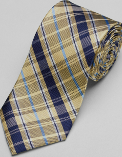 JoS. A. Bank Men's Traveler Collection Plaid Tie, Yellow, One