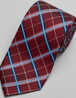 JoS. A. Bank Men's Traveler Collection Plaid Tie - Long, Red, LONG