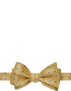 JoS. A. Bank Men's Square & Circle Pattern Self-Tie Bow Tie, Yellow, One