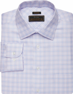 JoS. A. Bank Men's Reserve Collection Tailored Fit Spread Collar Plaid Dress Shirt - Big & Tall Clearance, Purple, 16x36