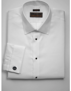 JoS. A. Bank Men's Reserve Collection Slim Fit Spread Collar French Cuff Formal Dress Shirt, White, 14 1/2x33