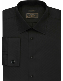 JoS. A. Bank Men's Reserve Collection Tailored Fit Spread Collar French Cuff Formal Dress Shirt, Black, 16 1/2x33