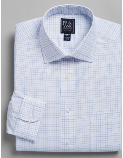 JoS. A. Bank Men's Traveler Collection Tailored Fit Spread Collar Plaid Dress Shirt - Big & Tall Clearance, Blue, 18 1/2x37 Tall