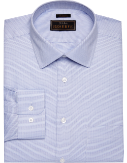 JoS. A. Bank Men's Reserve Collection Tailored Fit Spread Collar Tic Dress Shirt, Light Blue, 16x35