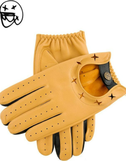Dents The Suited Racer X Dents Two Colour Leather Driving Gloves In Cork/black