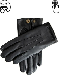 Dents The Suited Racer X Dents Touchscreen Leather Embossed Gloves In Black/black