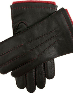Dents Men's Handsewn Contrast Colour Cashmere Lined Leather Gloves In Black (Rust)