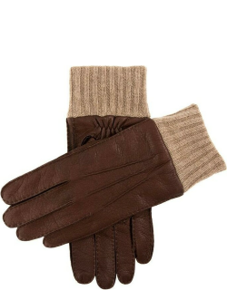 Dents Men's Handsewn Cashmere Lined Deerskin Leather Gloves With Knitted Cashmere Cuffs In Bark/beige