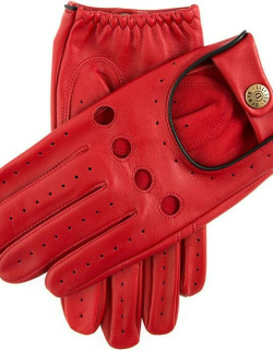 Dents Men's Classic Leather Driving Gloves In Berry/black