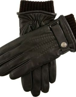 Dents Men's Warm Lined Touchscreen Leather Gloves In Brown