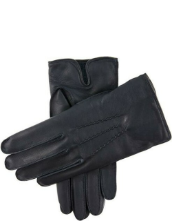 Dents Men's Camel Hair Lined Leather Gloves In Navy (Blue)