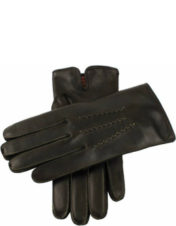 Dents Men's Cashmere Lined Leather Gloves With Contrasting Detail In Black/apple (Apple)