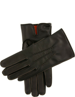 Dents Men's Cashmere Lined Leather Gloves With Contrasting Detail In Black/tangerine (Tangerine)