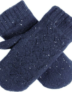 Dents Women's Lace Knit Mittens In Navy