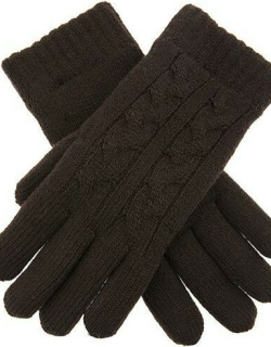 Dents Women's Cable Knit Gloves In Chocolate