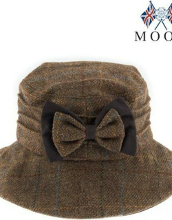 Dents Abraham Moon Check Hat With Bow Detail In Chestnut