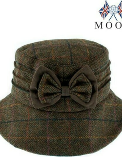 Dents Abraham Moon Check Hat With Bow Detail In Olive
