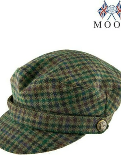 Dents Women's Abraham Moon Dogstooth Fiddler Cap In Forest Green