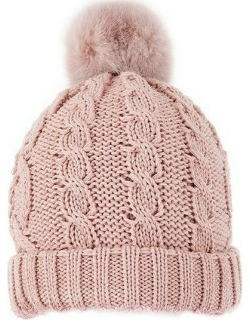 Dents Women's Metallic Cable Knit Hat With Faux Fur Pom Pom In Pink