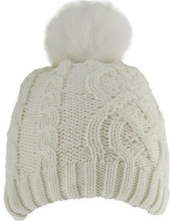 Dents Women's Metallic Cable Knit Hat With Faux Fur Pom Pom In Winter White