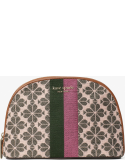 Spade Flower Jacquard Stripe Large Dome Cosmetic Case - - One