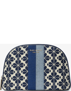Spade Flower Jacquard Stripe Large Dome Cosmetic Case - Blue - One