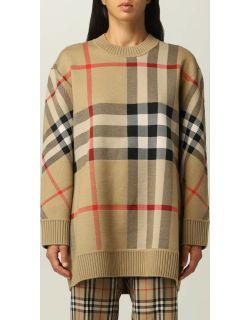 Burberry pullover in technical wool with check pattern