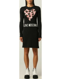 Love Moschino short dress in wool blend with heart