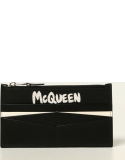 Alexander McQueen wallet in leather with Graffiti logo
