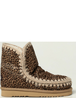 Eskimo Mou ankle boots in pony with animal print