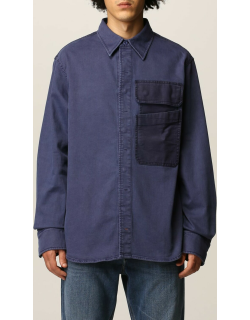 Cotton blend shirt with patch pockets