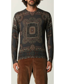 Etro jumper in silk and cashmere with geometric pattern