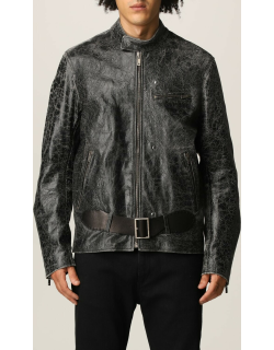 Golden Goose Biker Jacket in leather with distressed treatment