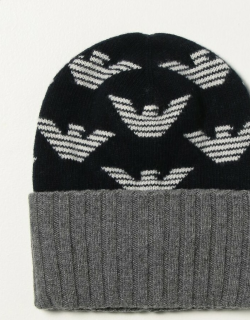 Emporio Armani beanie hat with all over logo