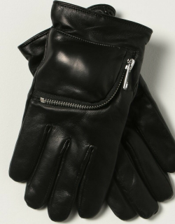 Diesel leather gloves with zip