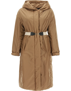 MAX MARA THE CUBE TECHNICAL FABRIC COAT WITH BELT 40 Brown Technical