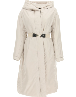 MAX MARA THE CUBE TECHNICAL FABRIC COAT WITH BELT 44 Grey Technical