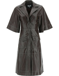 GANNI LEATHER DRESS 38 Brown Leather